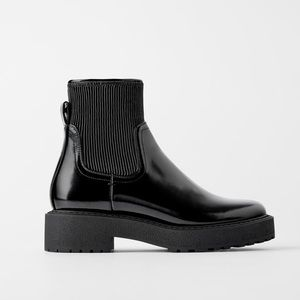 NEW Zara Flat Ankle Chelsea Boots With Pleated Shaft Platform Track Sole 42 / 11